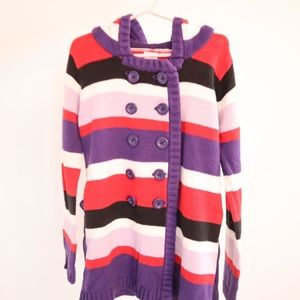 Girls Gymboree Knit Striped Sweater with Hoodie